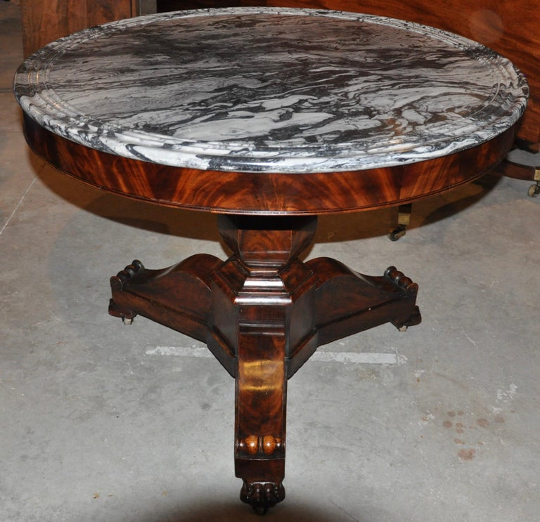 19th Century American Empire Marble-Top Center Table For Sale 2