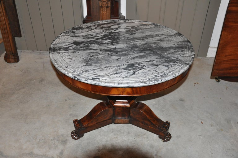 19th Century American Empire Marble-Top Center Table For Sale 4