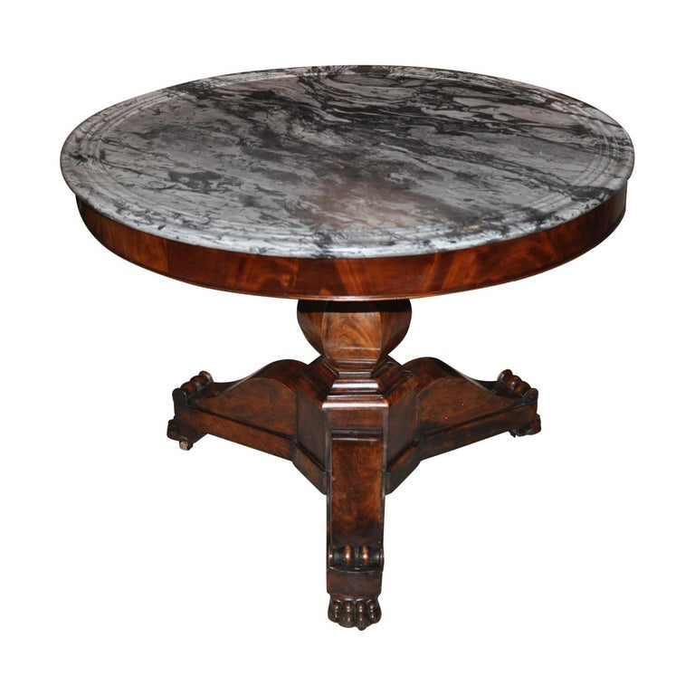19th Century American Empire Marble-Top Center Table For Sale