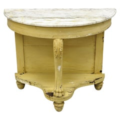 19th Century American Empire Marble Top Demilune Painted Console Hall Table