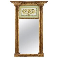 19th Century American Federal Giltwood Antique Pier Wall Mirror, New England