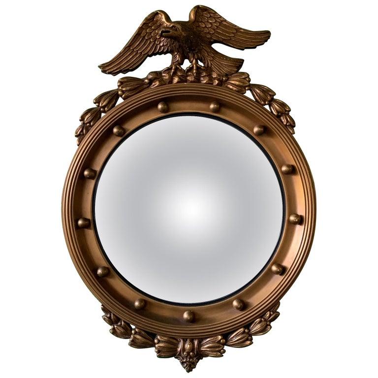 19th Century American Federal Giltwood Eagle Convex Mirror
