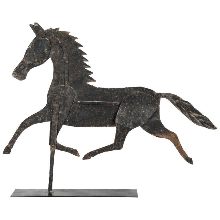19th Century American Folk Art Iron Horse Weathervane For Sale