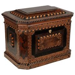 19th Century American Folk Art Marquetry Box