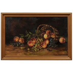 19th Century American Framed Still-Life Painting Depicting Peaches and Grapes