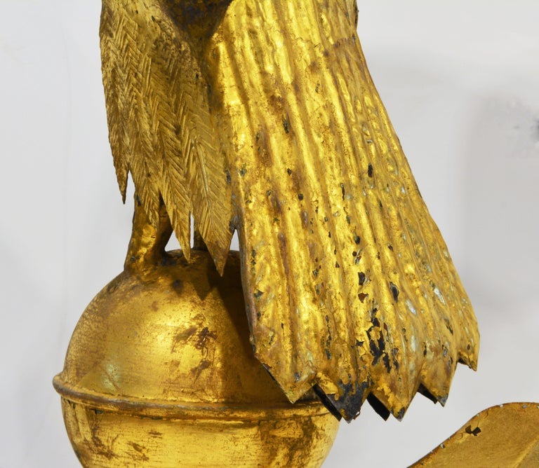 19th Century American Gilt Eagle Weather Vane Perched on Belted Ball and Arrow For Sale 6