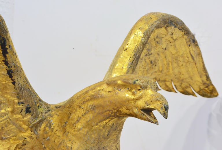 19th Century American Gilt Eagle Weather Vane Perched on Belted Ball and Arrow For Sale 2