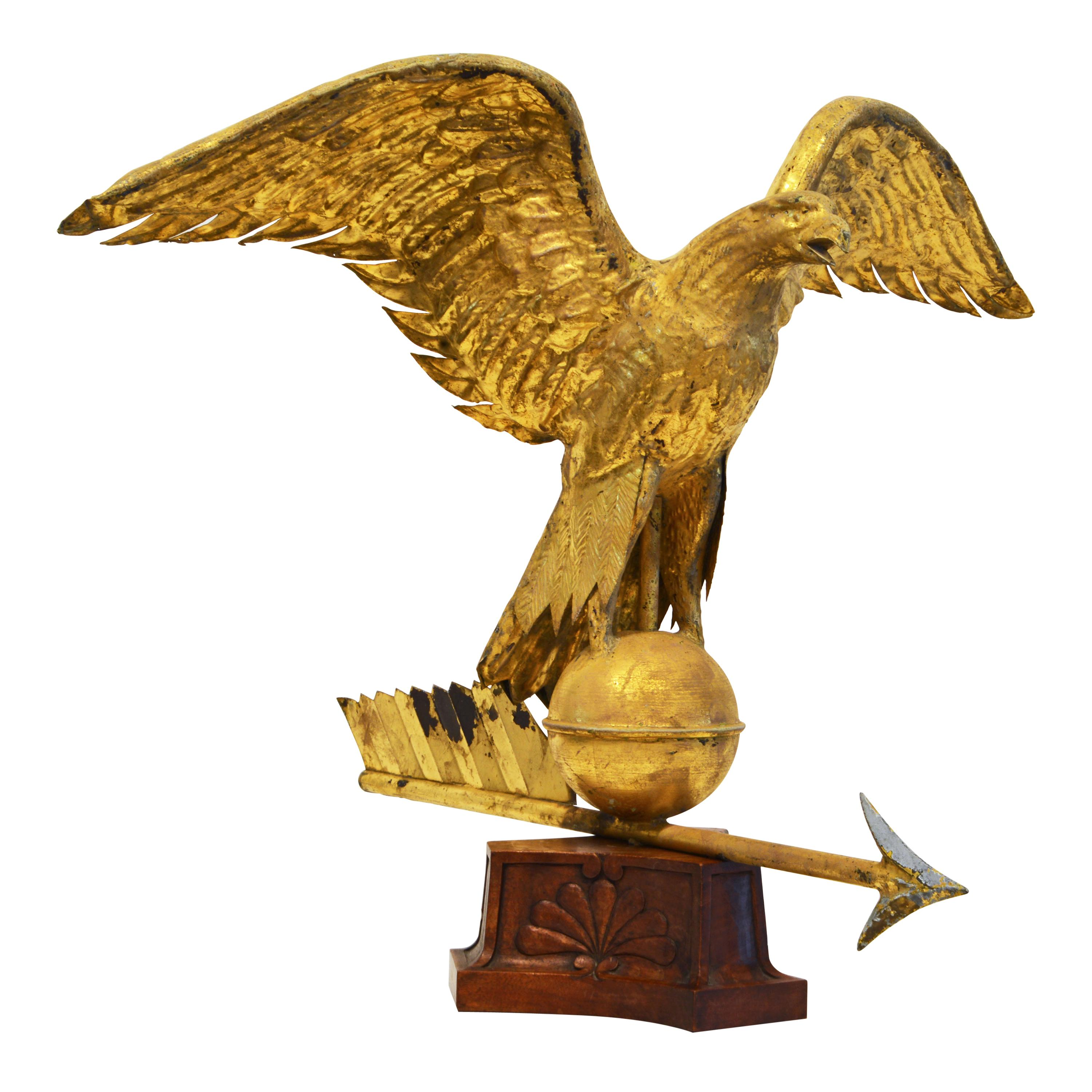 19th Century American Gilt Eagle Weather Vane Perched on Belted Ball and Arrow