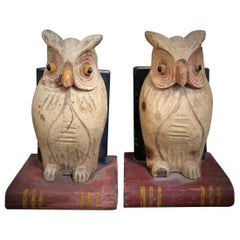 19th Century American Hand Carved and Painted Folk Art Owl Bookends