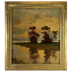 19th Century American Impressionist Oil Landscape Signed R. Lewis