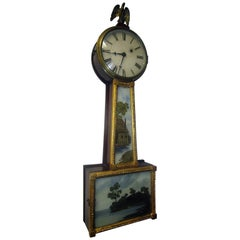 19th Century American Mahogany and Églomisé Banjo Clock
