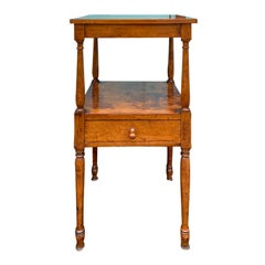 19th Century American Maple Two-Tier Stand / Side Table, One Drawer