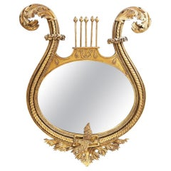 19th Century American Neoclassical Lyre Giltwood Mirror