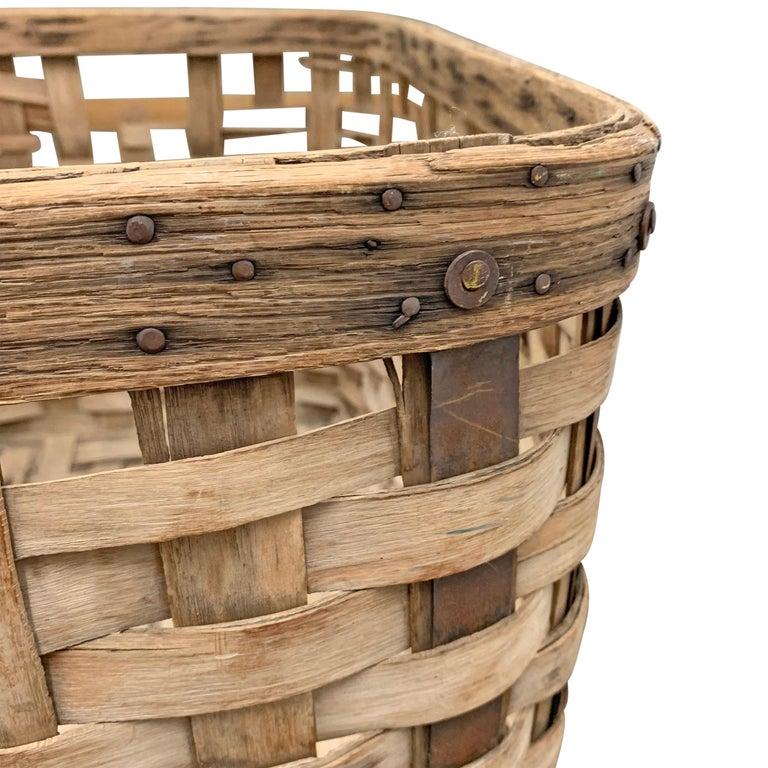 19th Century American Oak Splint Basket For Sale 5