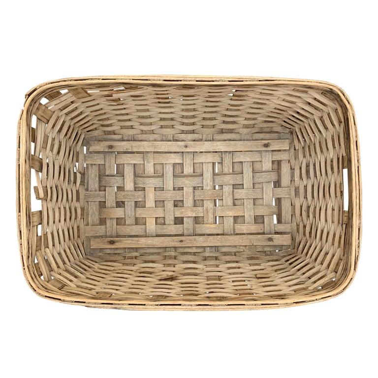 19th Century American Oak Splint Basket For Sale 6