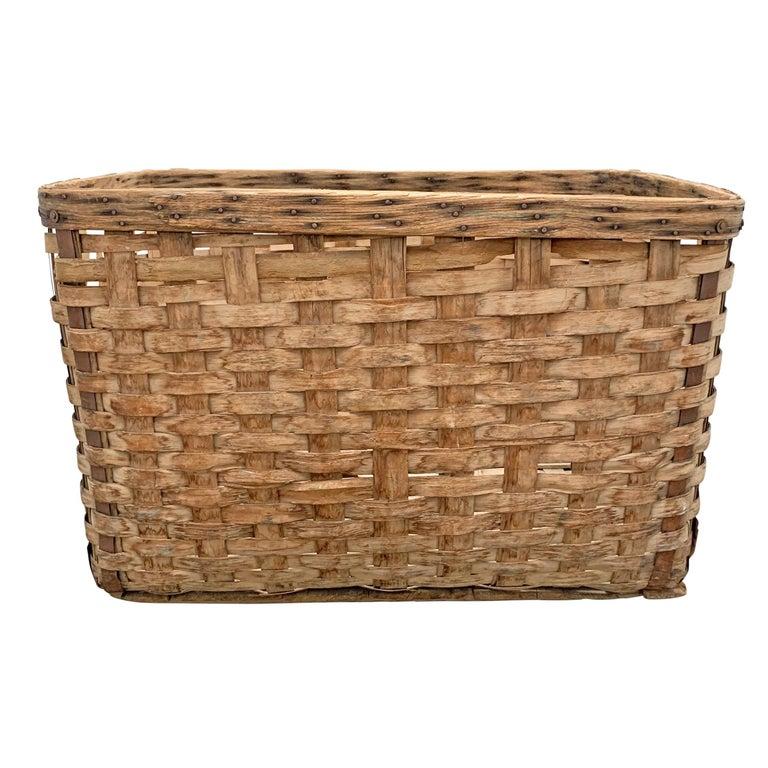 19th Century American Oak Splint Basket For Sale