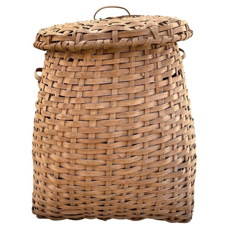 19th Century American Oak Splint Feather Basket For Sale