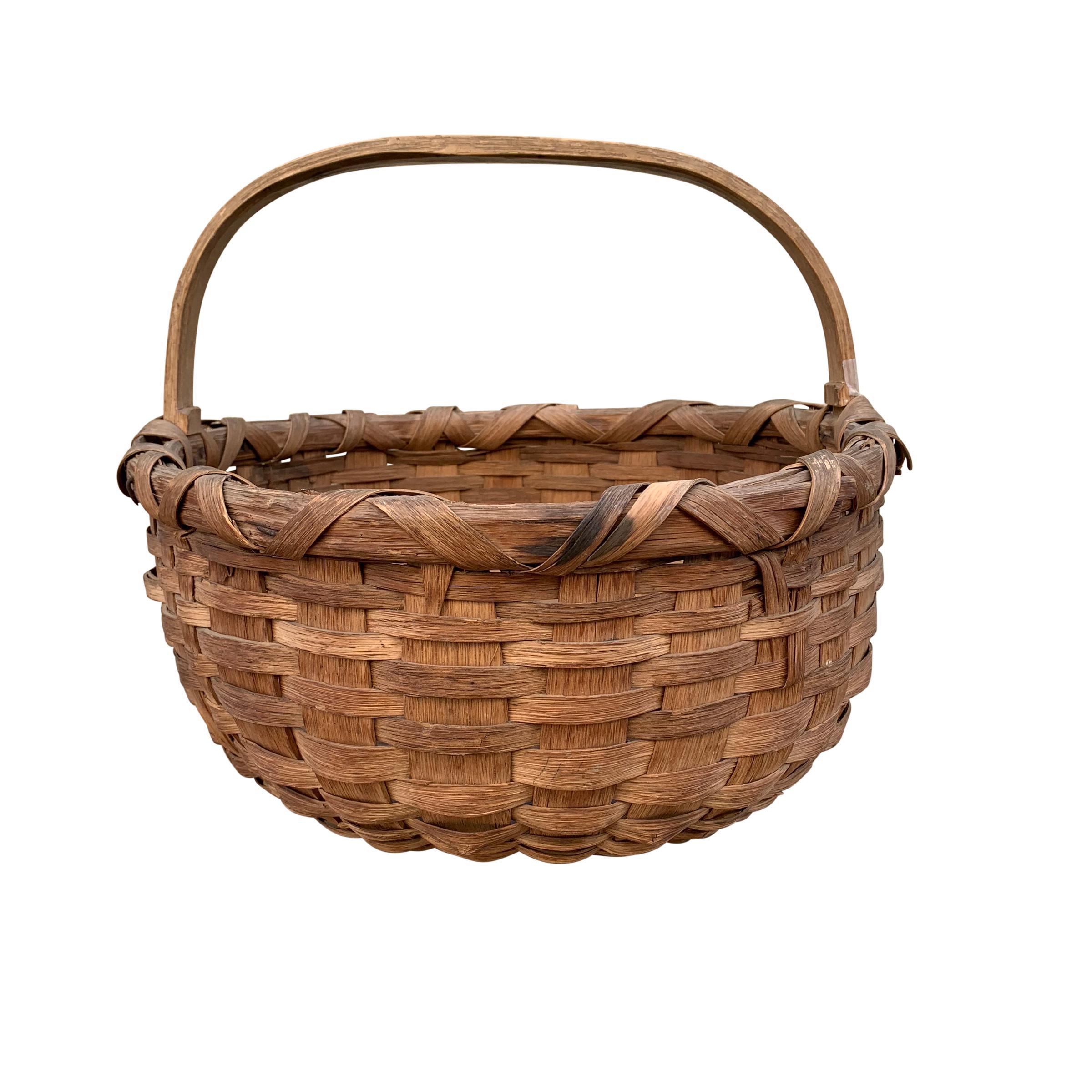19th Century American Oak Splint Gathering Basket