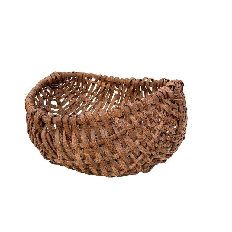 Country 19th Century American Oak Splint Swill Basket For Sale