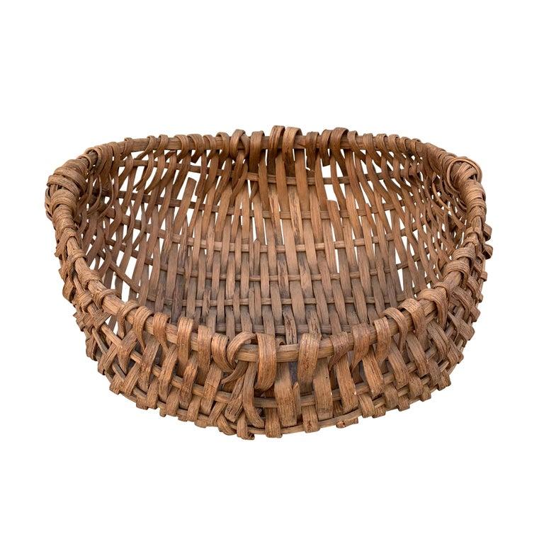 19th Century American Oak Splint Swill Basket For Sale