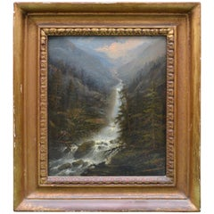 19th Century American Oil Painting on Board of the 'Yosemite' Waterfall