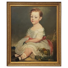 19th Century American Oil Portrait of a Young Girl with Her Toy Horse
