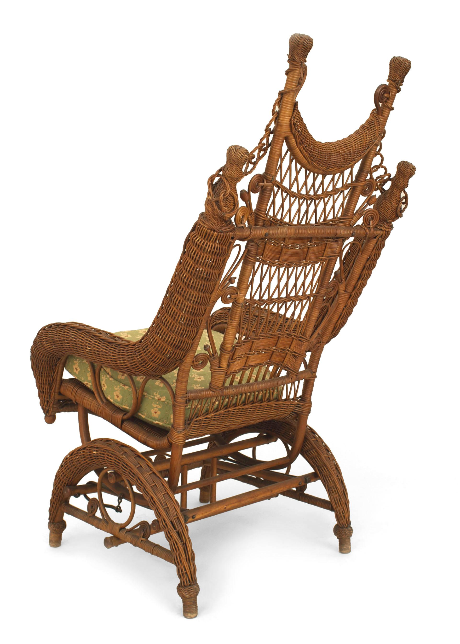 19th Century American Ornate High Back Wicker Rocking Chair
