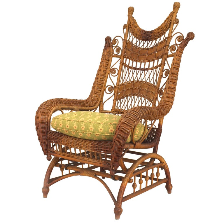 19th Century American Ornate High Back Wicker Rocking Chair For Sale