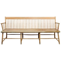19th Century American Pine and Mable Windsor Settle