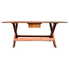 19th Century American Pine Sawbuck Dining Table or Console with Drawer