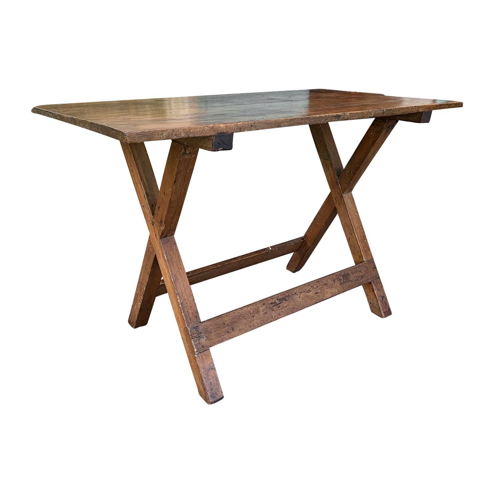 19th Century American Pine Sawbuck X-Table