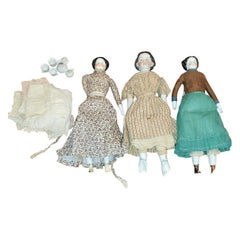 19th Century American Porcelain Jenny Lind Style Dolls with Provenance