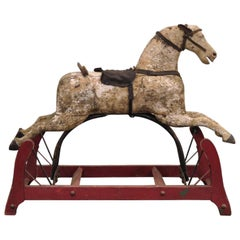 19th Century American Primitive Carved Wood Cast Iron Glider Rocking Hobby Horse