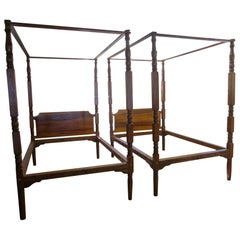 19th Century American Primitive Double Bed Pair with Canopies