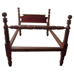 19th Century American Primitive Maple Bed with Turned Posts