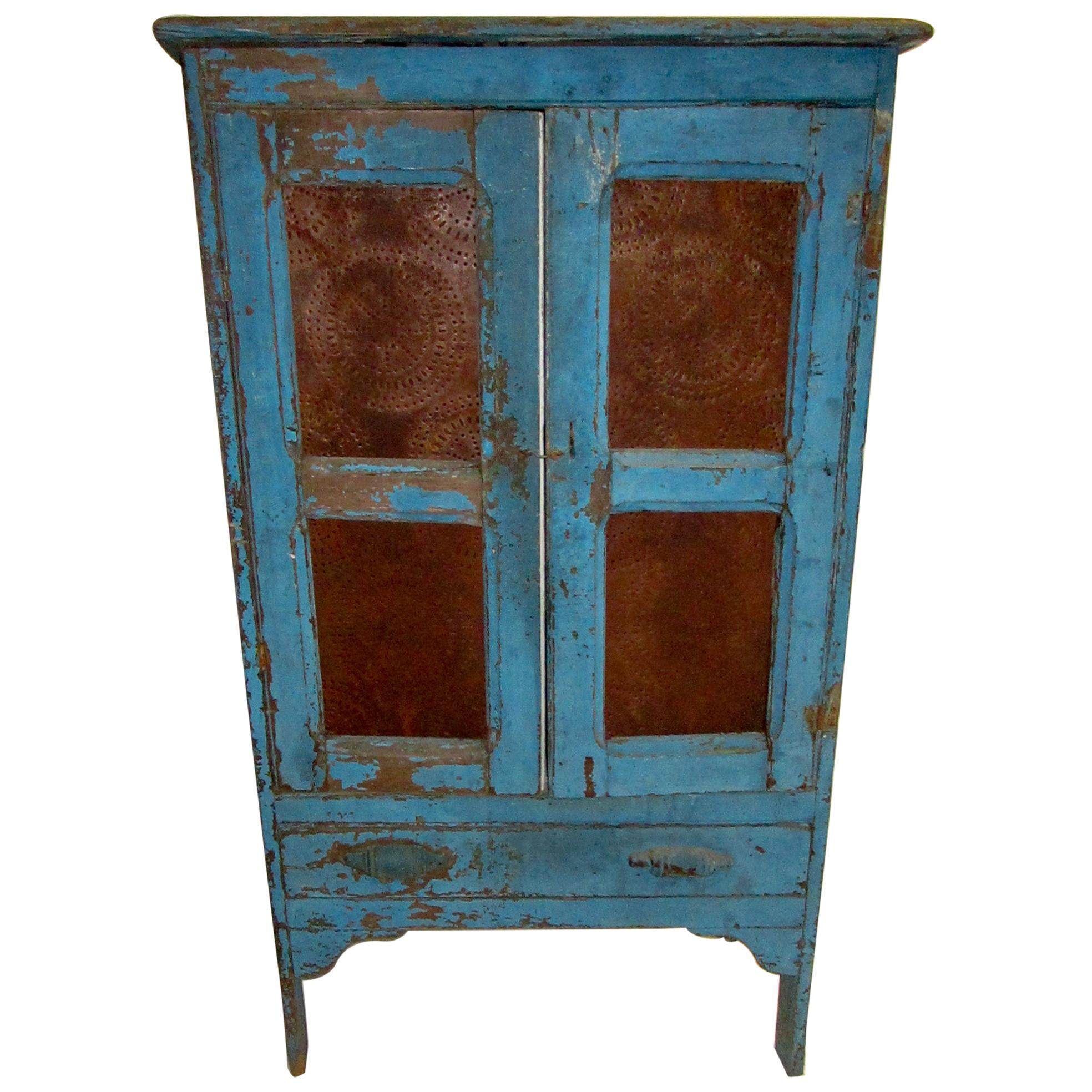 19th Century American Primitive Southern Pie Safe with Distressed Blue Paint