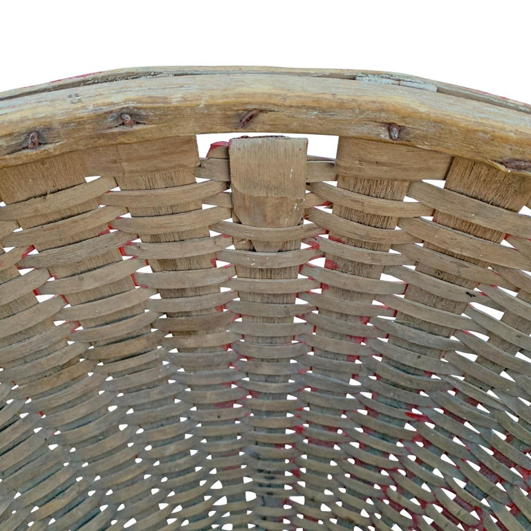 19th Century American Red Painted Gathering Basket For Sale 5