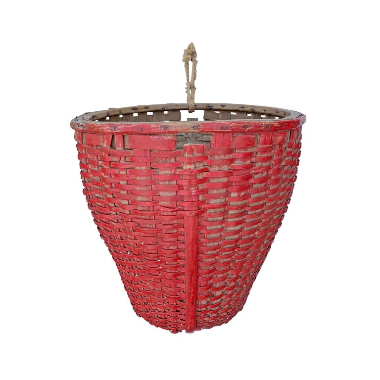 Rustic 19th Century American Red Painted Gathering Basket For Sale