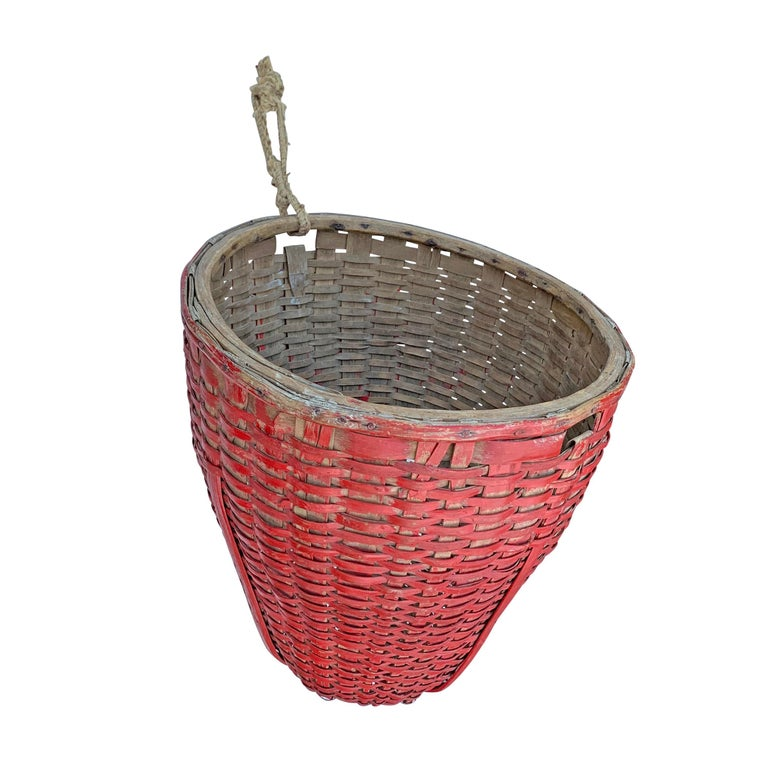 Hand-Woven 19th Century American Red Painted Gathering Basket For Sale