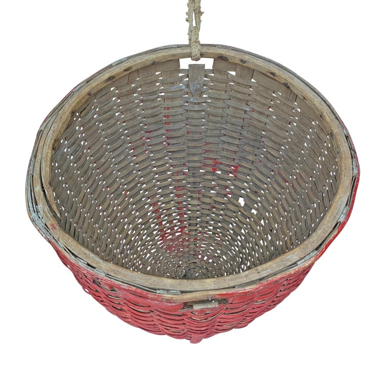 19th Century American Red Painted Gathering Basket For Sale 1