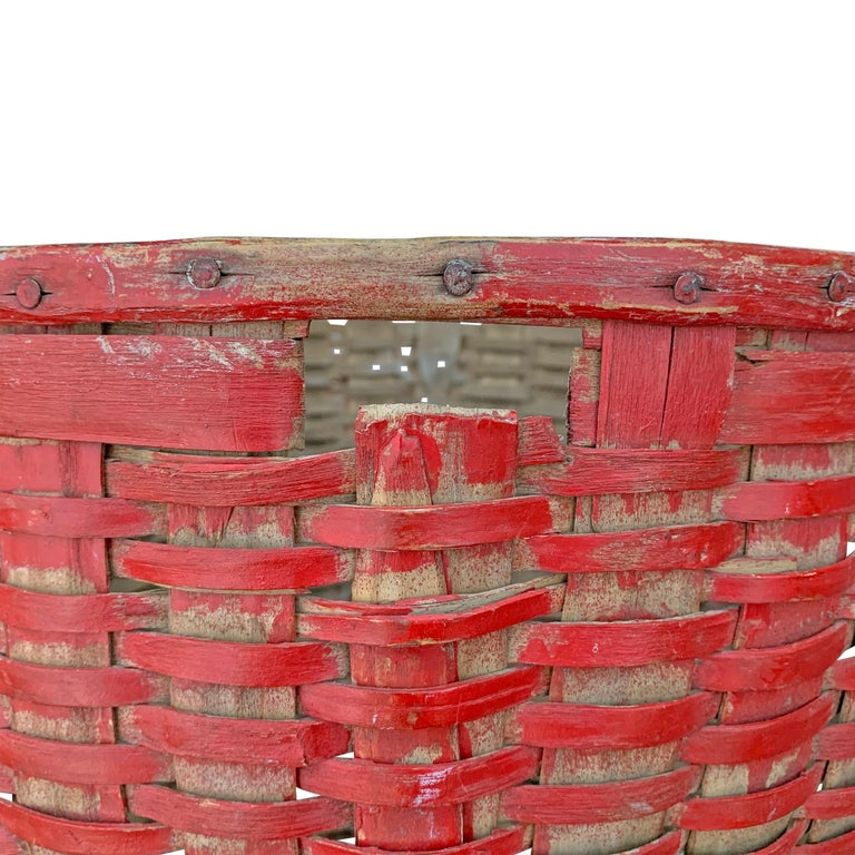 19th Century American Red Painted Gathering Basket For Sale 2