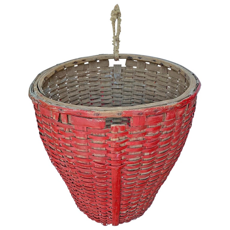 19th Century American Red Painted Gathering Basket For Sale