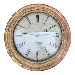 19th Century American Round Wall Clock by Brewster & Ingraham, circa 1830