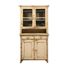 19th Century American Rustic Cabinet with Glass Doors and Distressed Finish