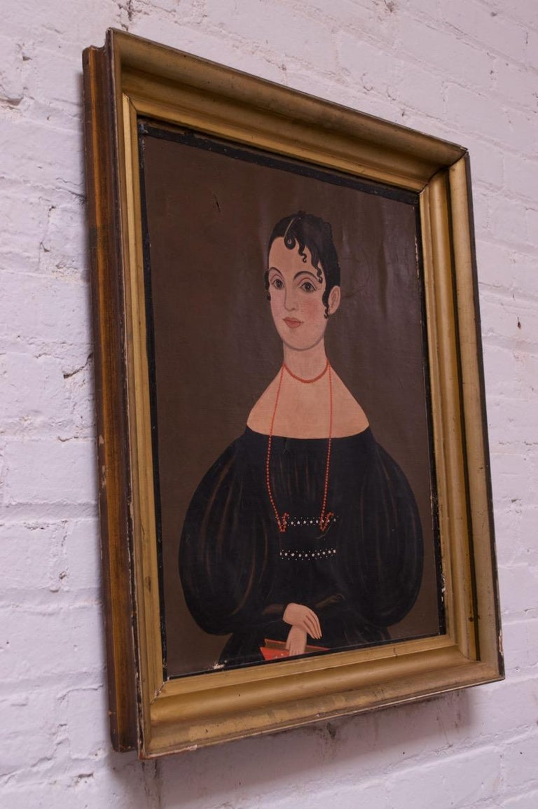 19th Century American School Folk Art Portrait of a Woman In Good Condition For Sale In Brooklyn, NY