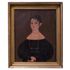 19th Century American School Folk Art Portrait of a Woman