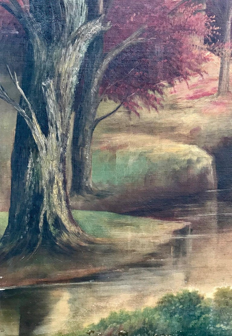 Folk Art 19th Century American School Landscape Painting, Oil on Canvas For Sale