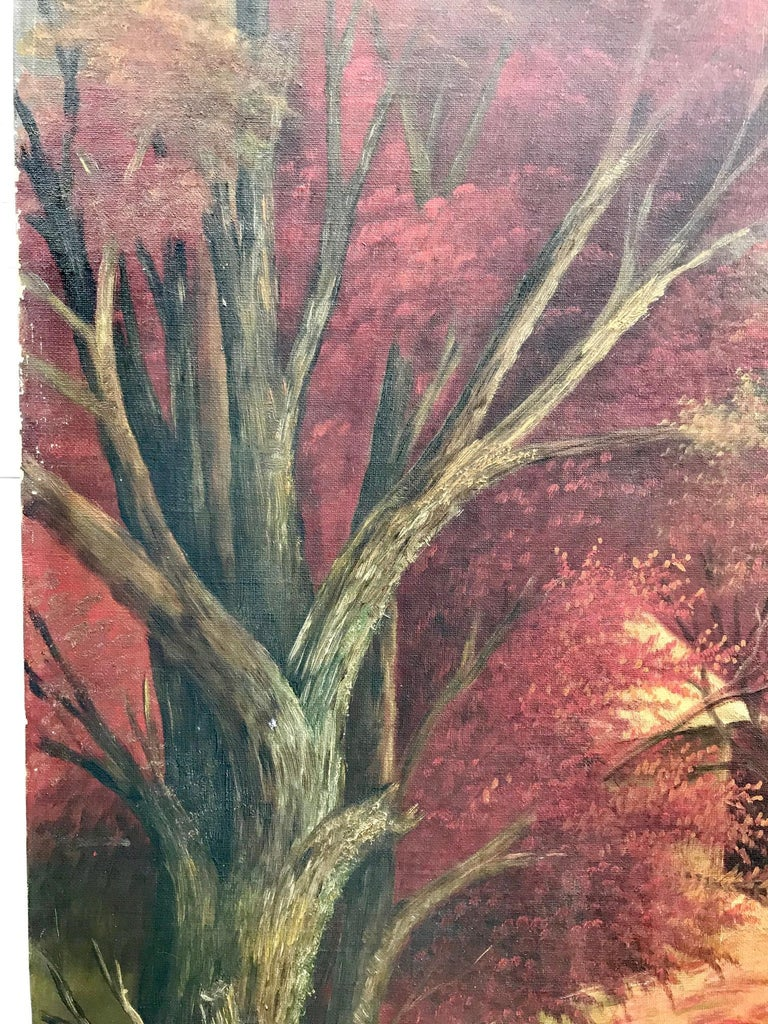Hand-Painted 19th Century American School Landscape Painting, Oil on Canvas For Sale