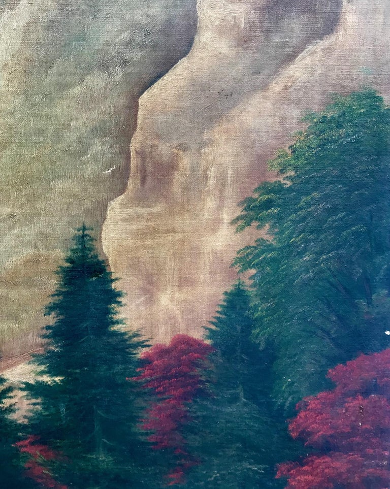19th Century American School Landscape Painting, Oil on Canvas For Sale 3