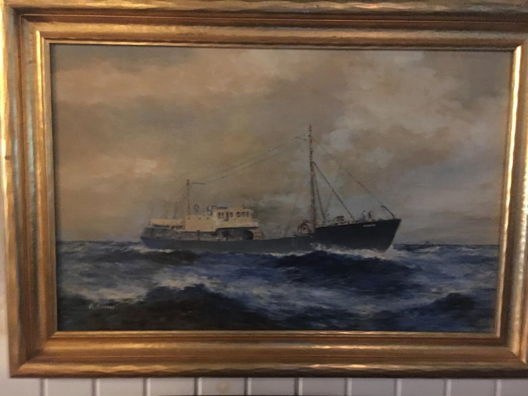 19th Century American Seascape of Commercial Ship In Excellent Condition For Sale In Buchanan, MI